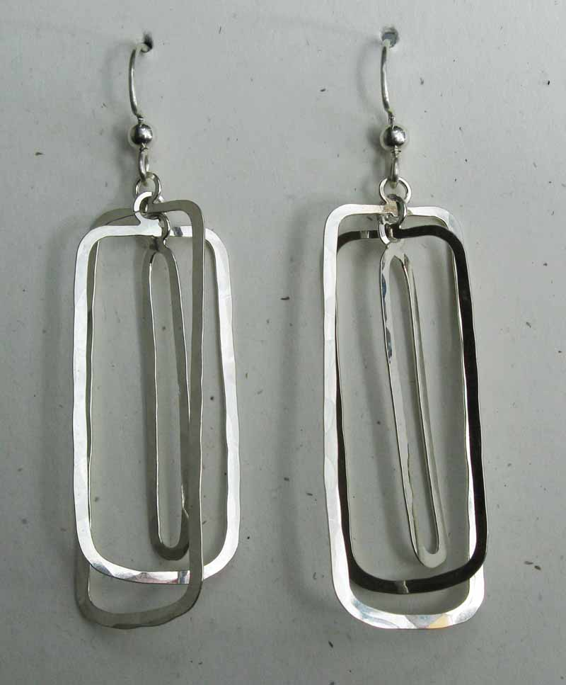 Open Rectangle Hoops in Sterling Silver