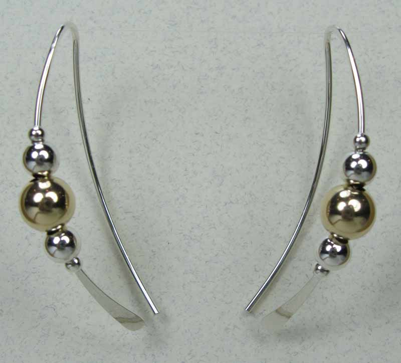Curved Earrings with Beads
