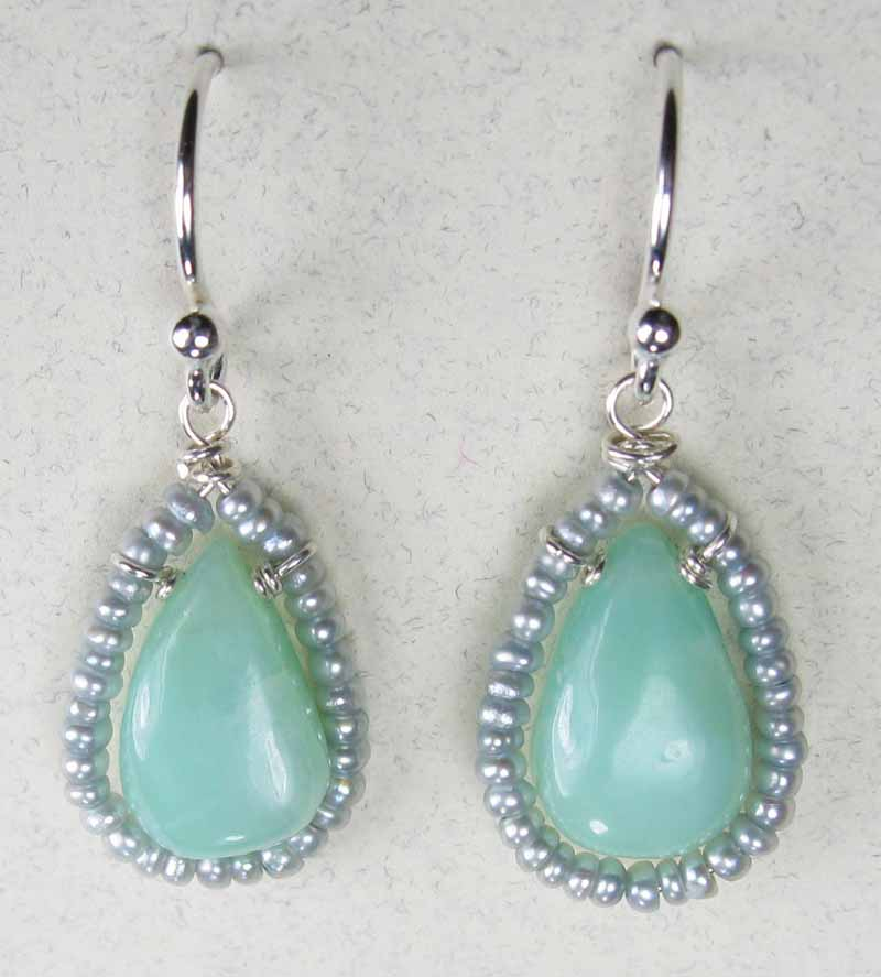 Peruvian Opal and Fresh Water Pearl Earrings