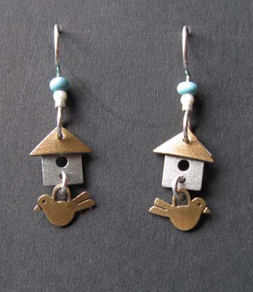 Small Birdhouse earrings with turquoise
