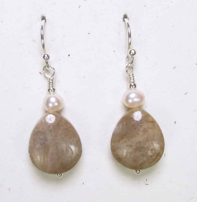 Oval Petoskey and Pearl Earrings