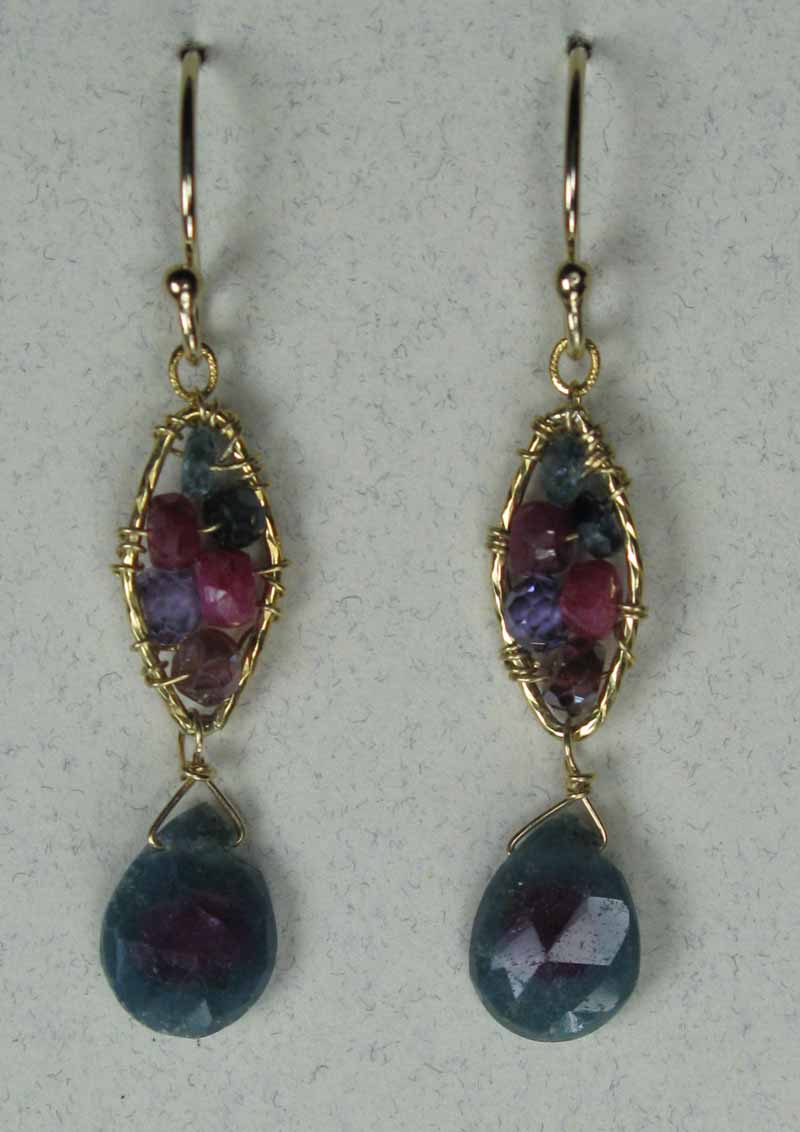 Woven Gemstone Earrings - Marquis with Drop in Ruby Mix