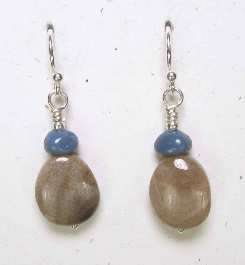 Oval Petoskey Earrings with Leland Blue