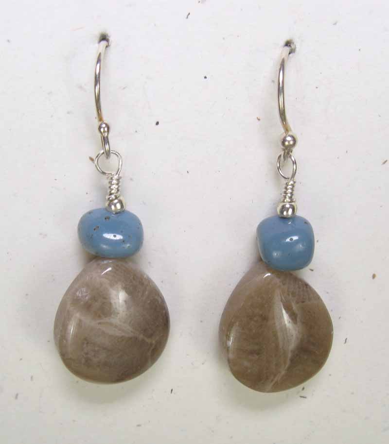 Petoskey Teardrop with Leland Blue Earrings