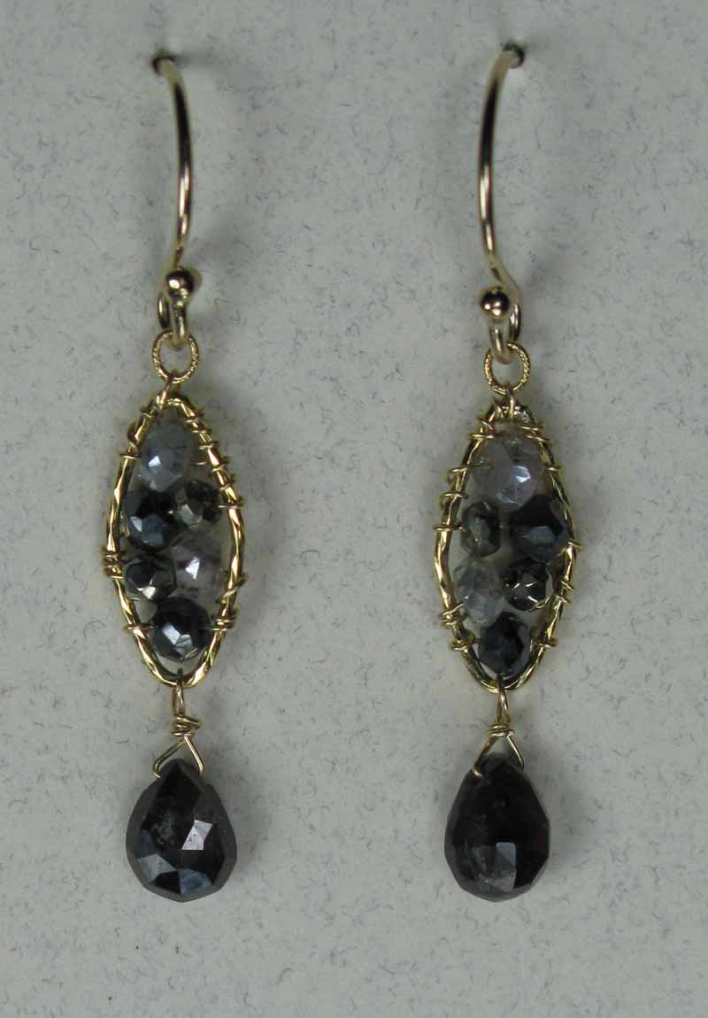 Woven Gemstone Earrings - Marquis with Drop in Black Mix
