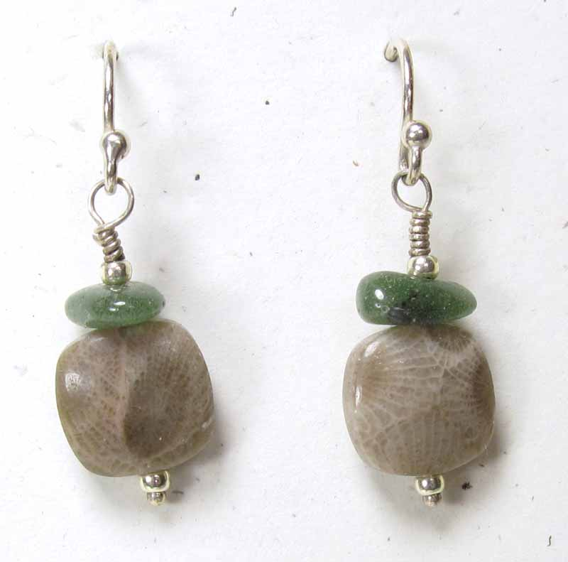 Small Square Petoskey Stone Earrings with Leland Blue