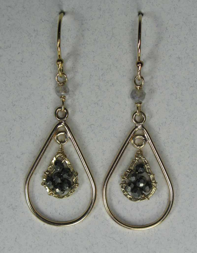 Gold Teardrop Earrings with Woven Pyrite