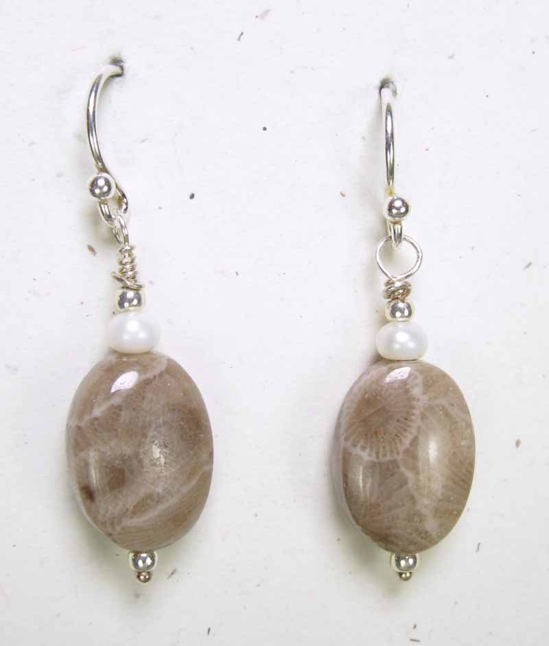 Oval Petoskey Earrings with Pearls