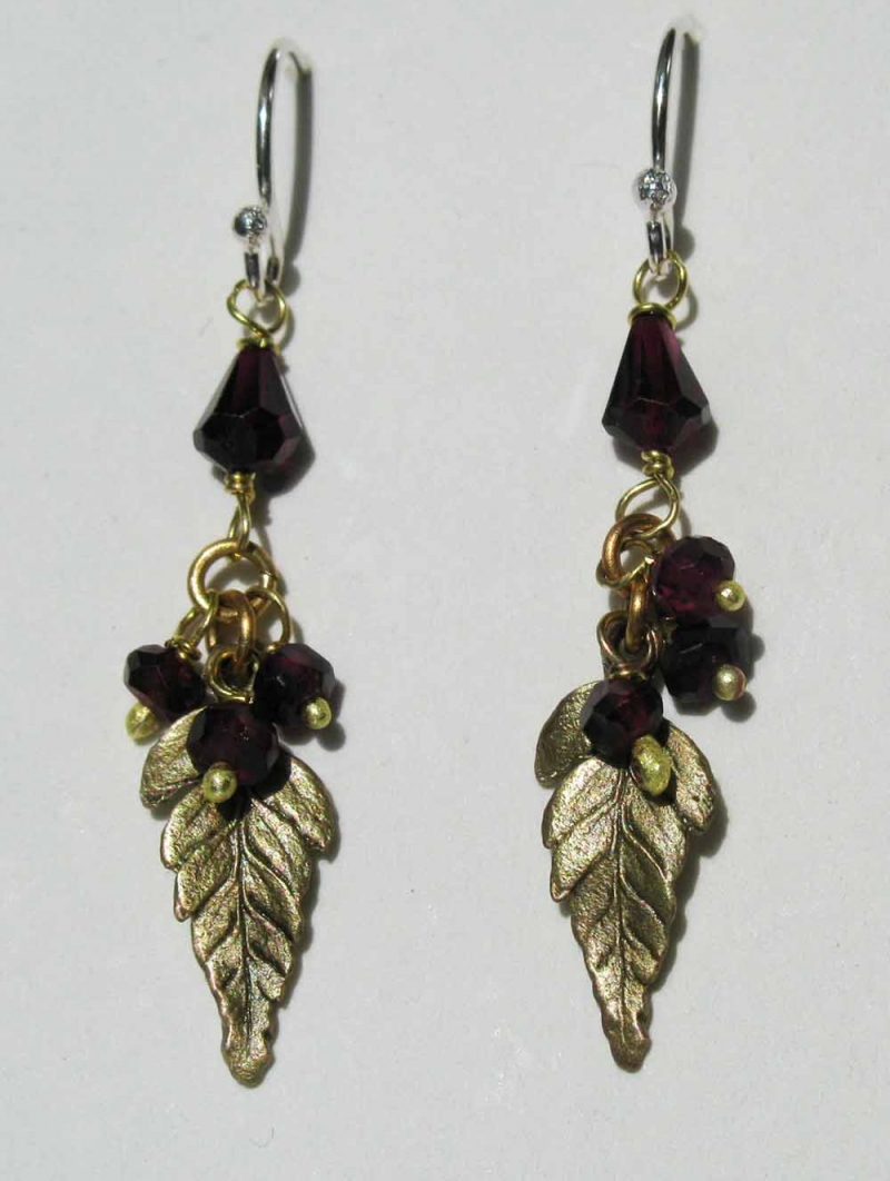 Baby Fern Earrings with Garnet