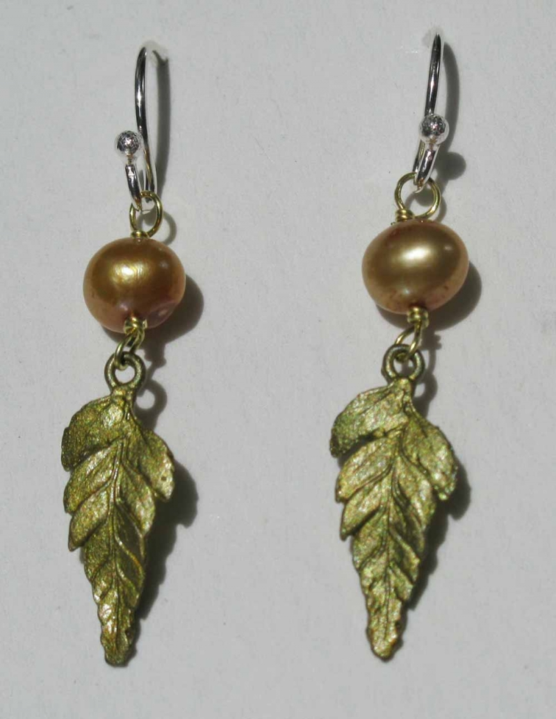 Fern Earrings with Gold Pearl