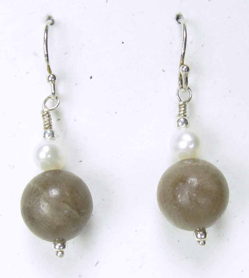 Round Petoskey Stone Earrings with Pearls