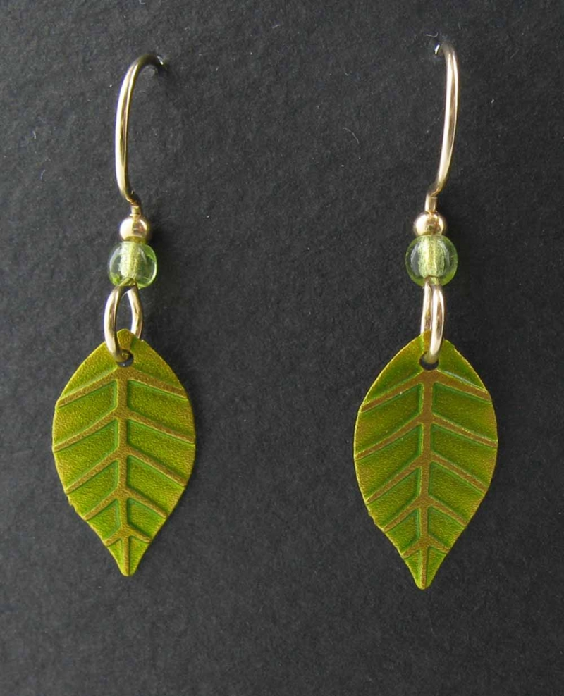 Leaf with peridot bead earrings