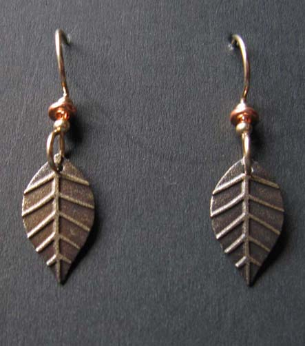 Leaf with copper earrings
