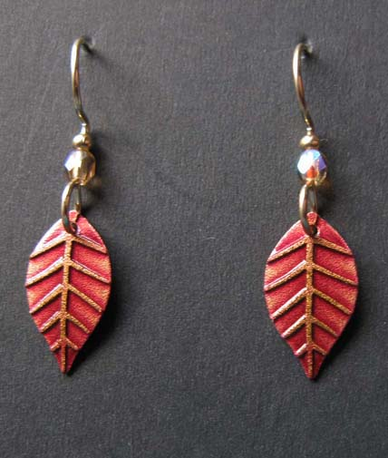 Leaf with rust red earrings
