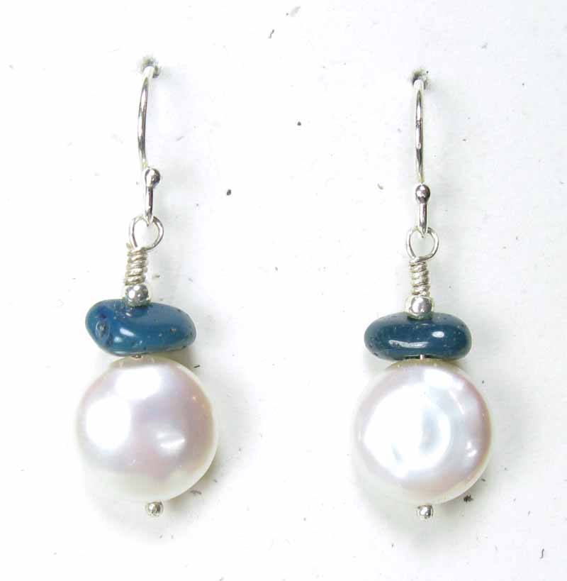Small Coin Pearl Earrings with Leland Blue Stone