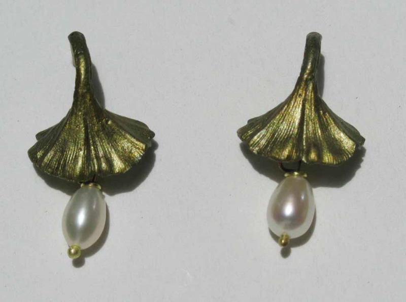 Ginkgo Post Earring with Pearls