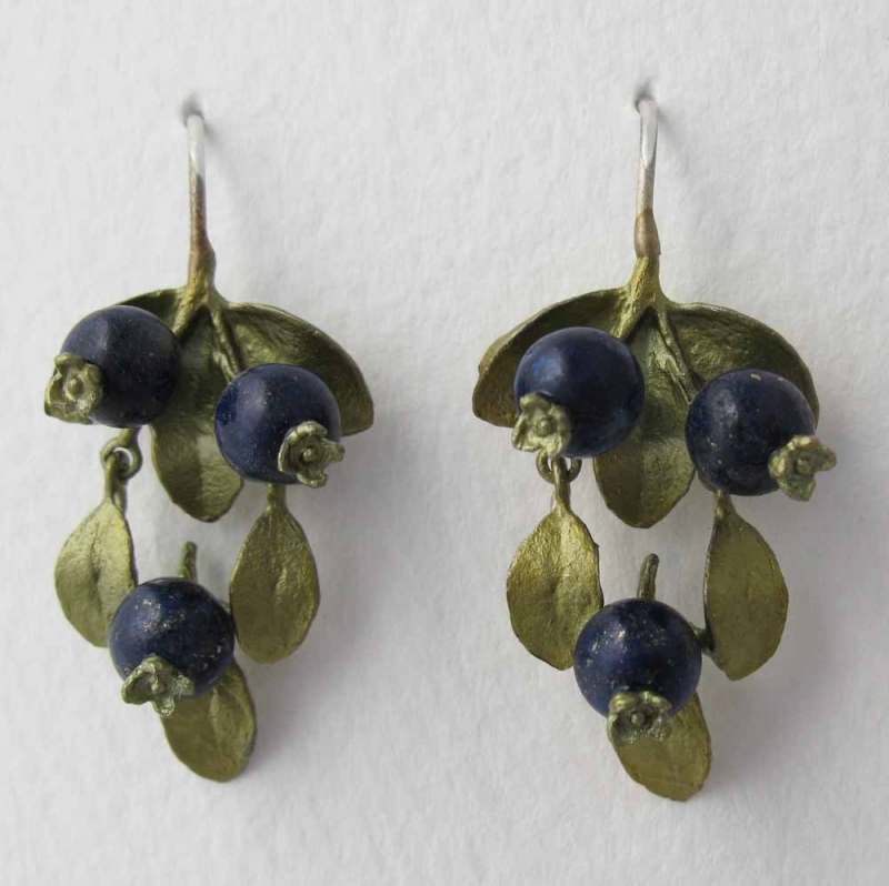 Blueberry Drop Earrings with Lapis