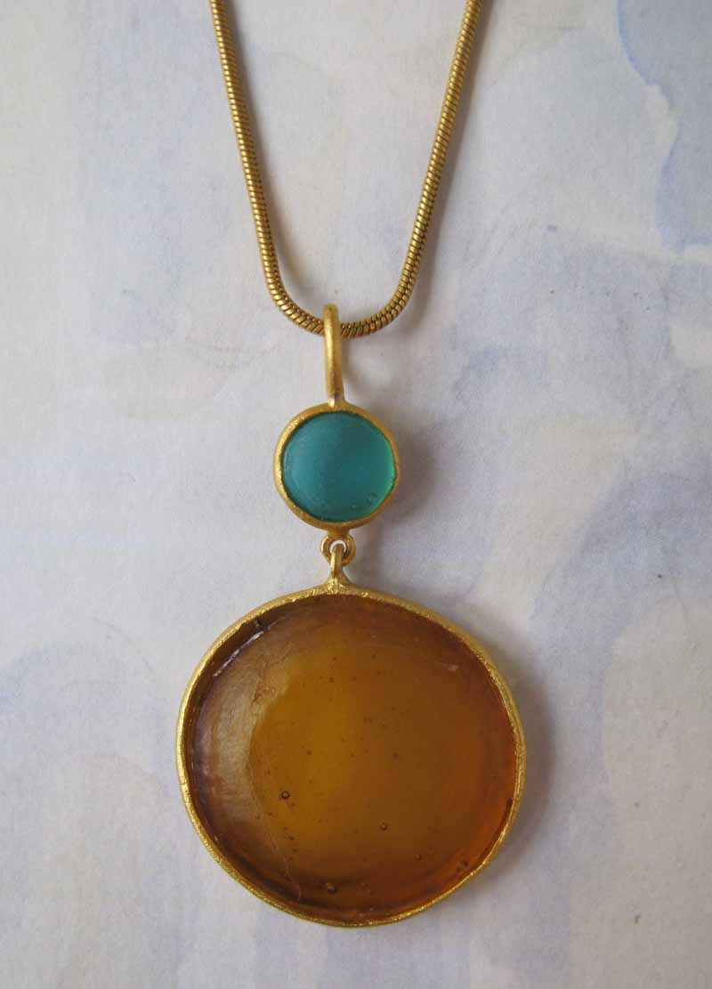 Round Cast Glass Necklace in Amber-Teal