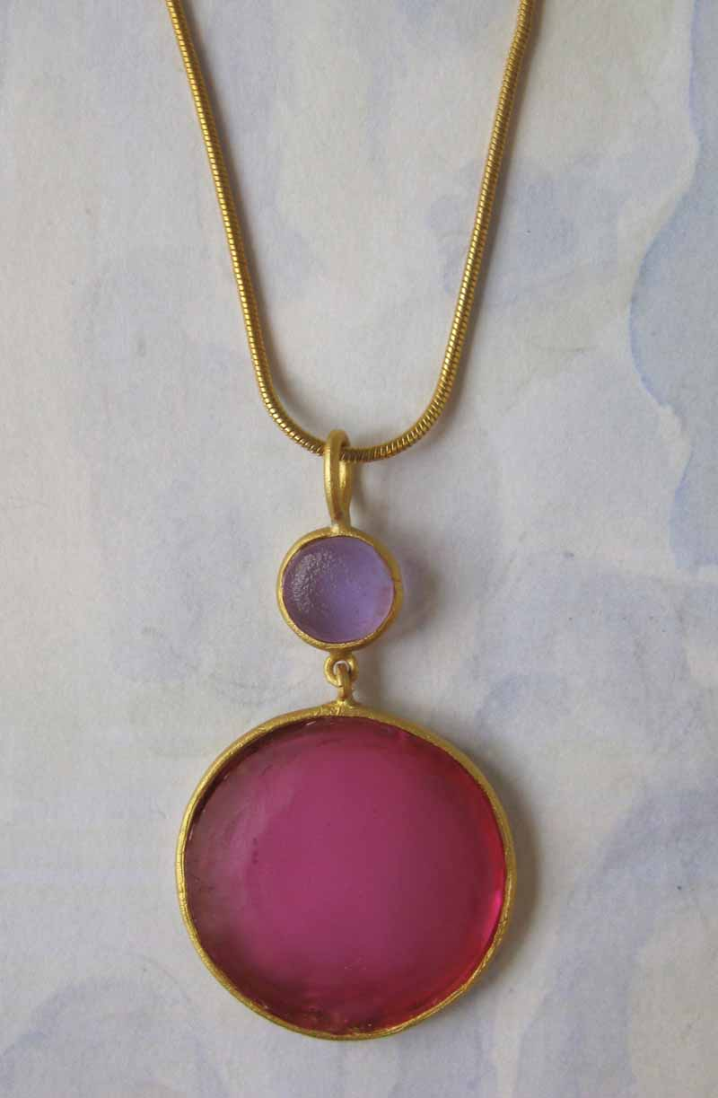Round Cast Glass Necklace in Rose-Lavendar