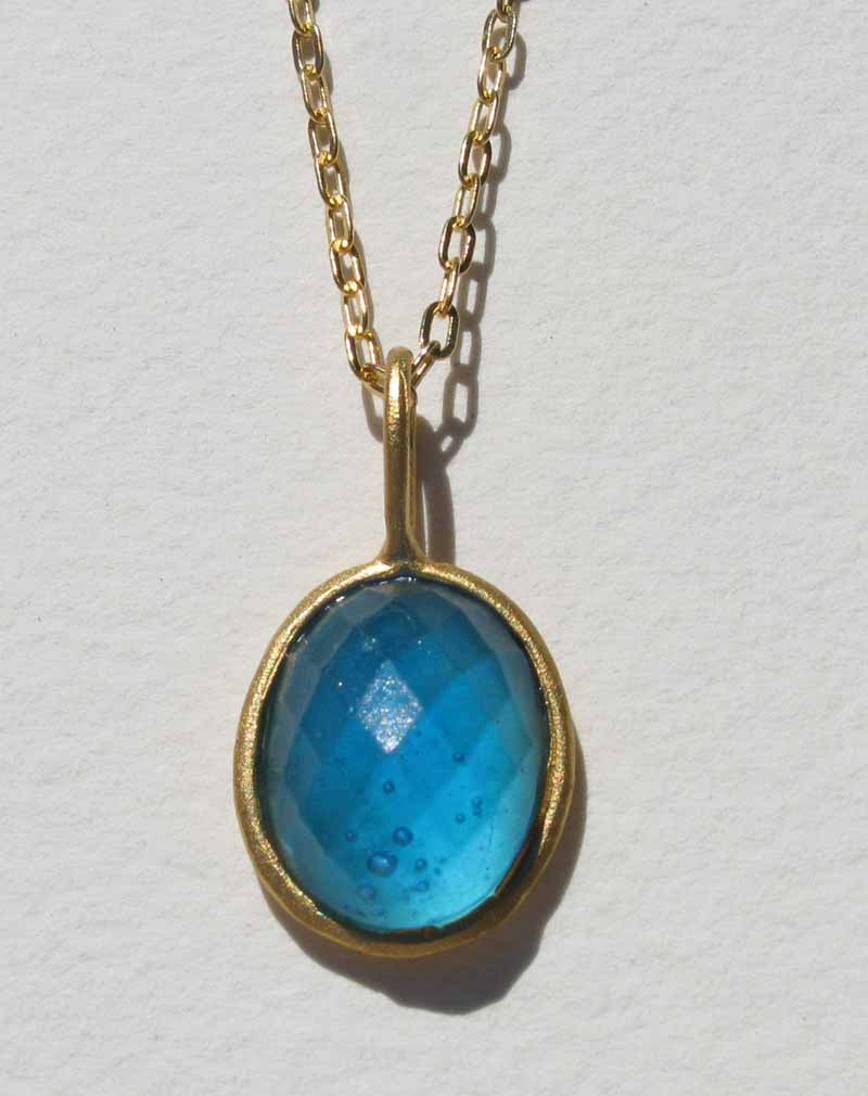 Faceted Cast Glass Oval Necklace