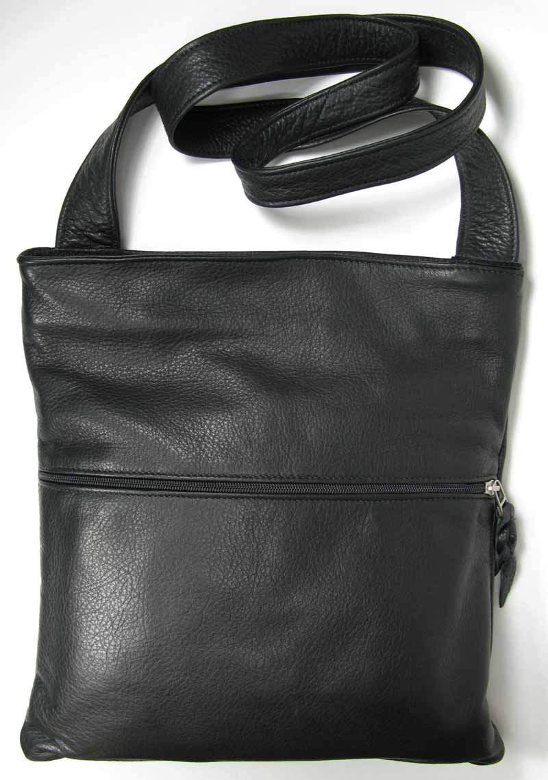 Leather Cross-Body Bag in Black
