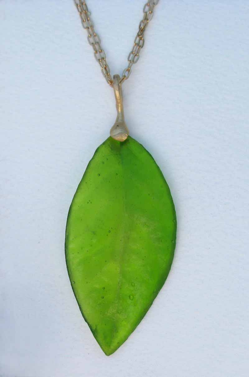 Long Blueberry Leaf Necklace in Cast Glass