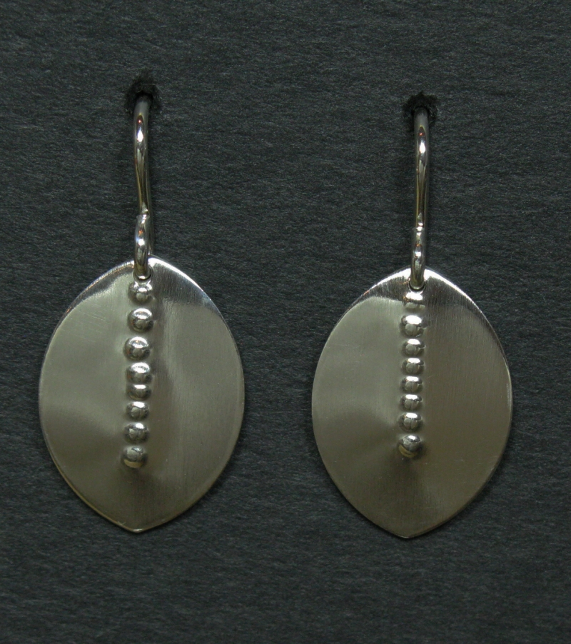 Silver Leaf Earring - Repoussee Center