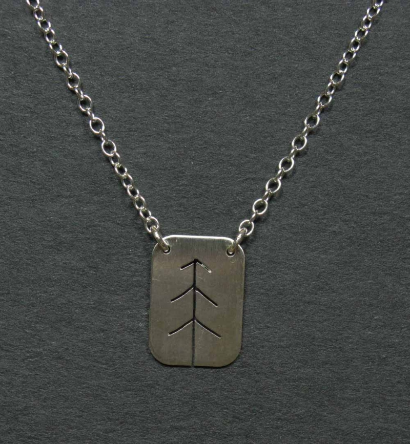 Silver Necklace with Pine Tree