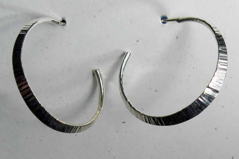 Open Texured Hoops in Sterling Silver