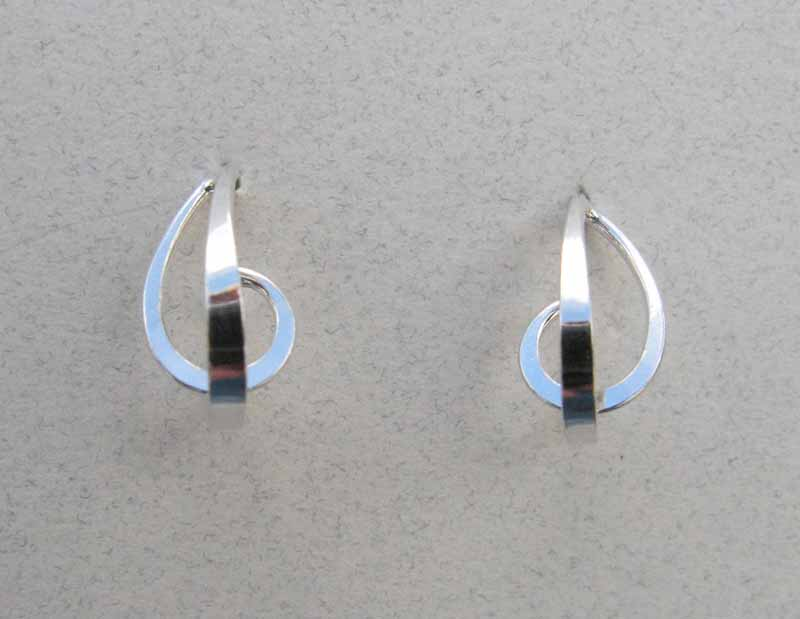 3D Teardrop Post Earrings in Sterling Silver