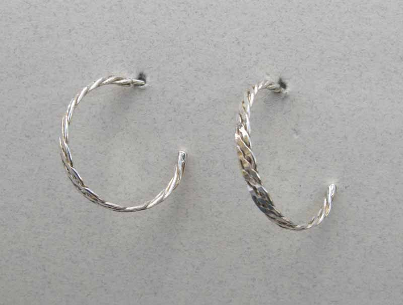 Braided Hoops in Sterling Silver