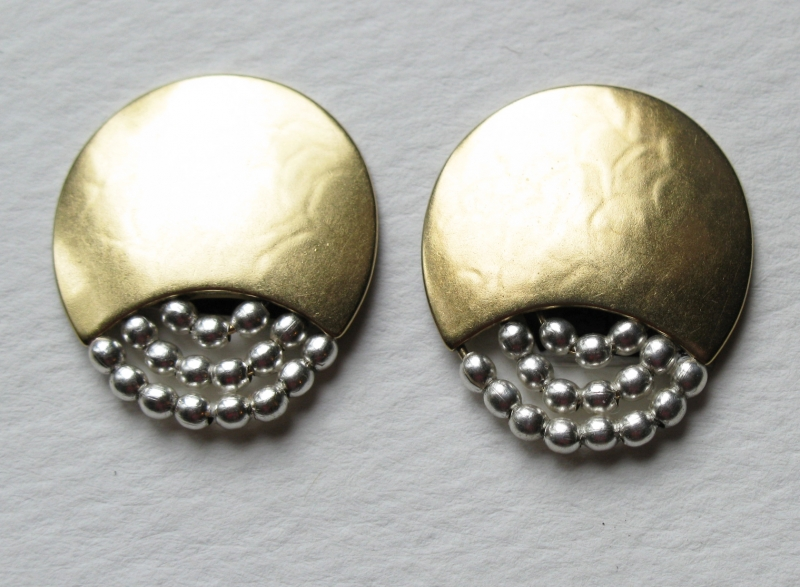 Post/Clip Earrings in Gold with Silver Beads