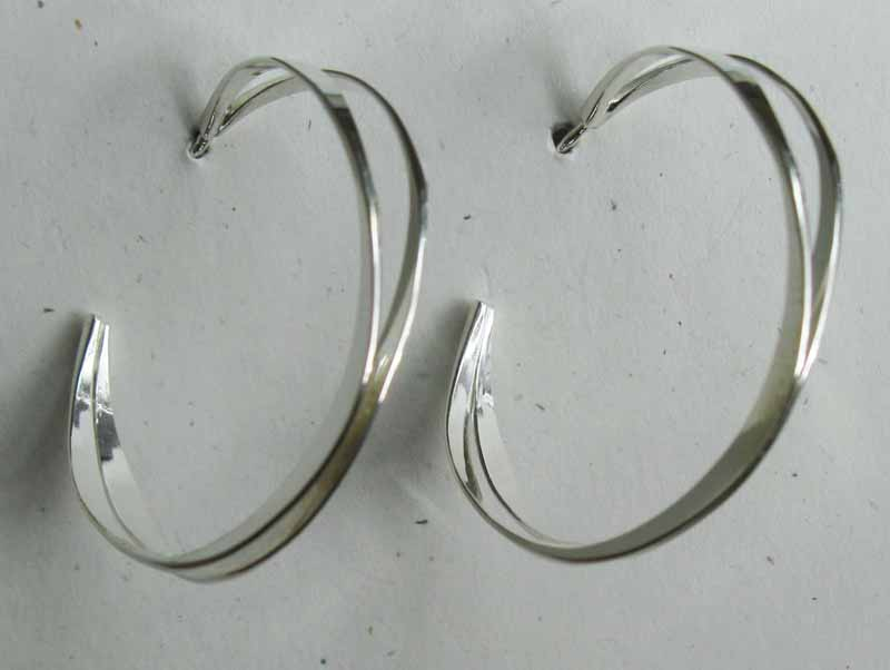 Crossed Line Hoop Earrings in Sterling Silver