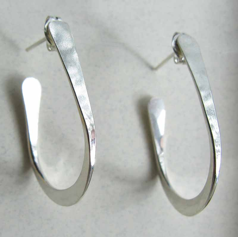 Flattened Oval Hoop Earrings in Sterling Silver