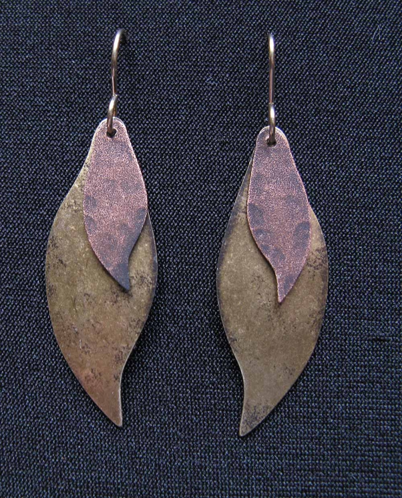 Earrings with Curved Leaves
