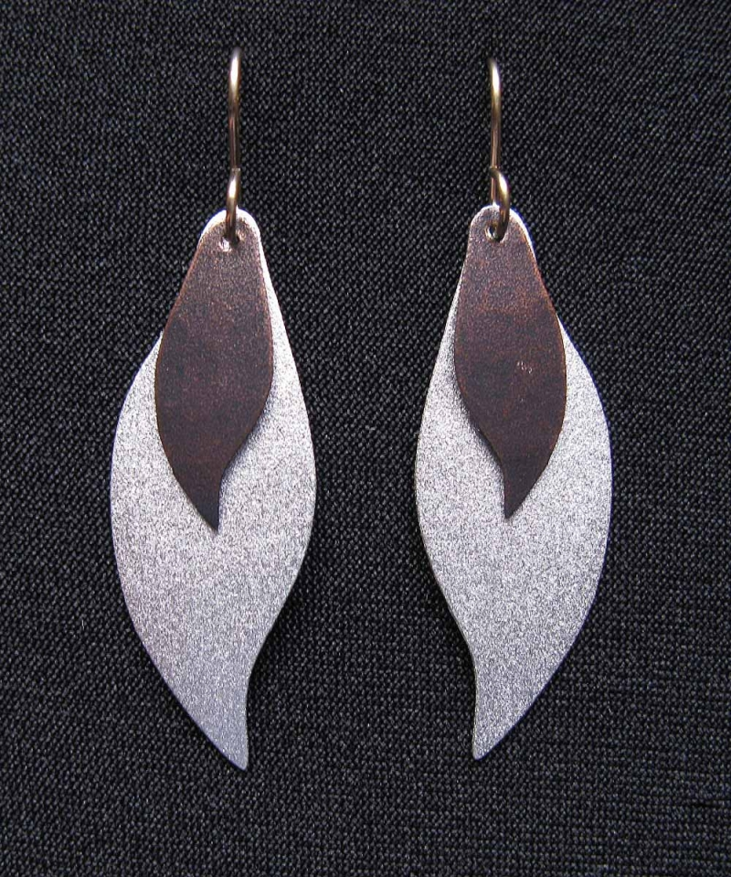 Earrings with Curved Leaves - Mixed Metals