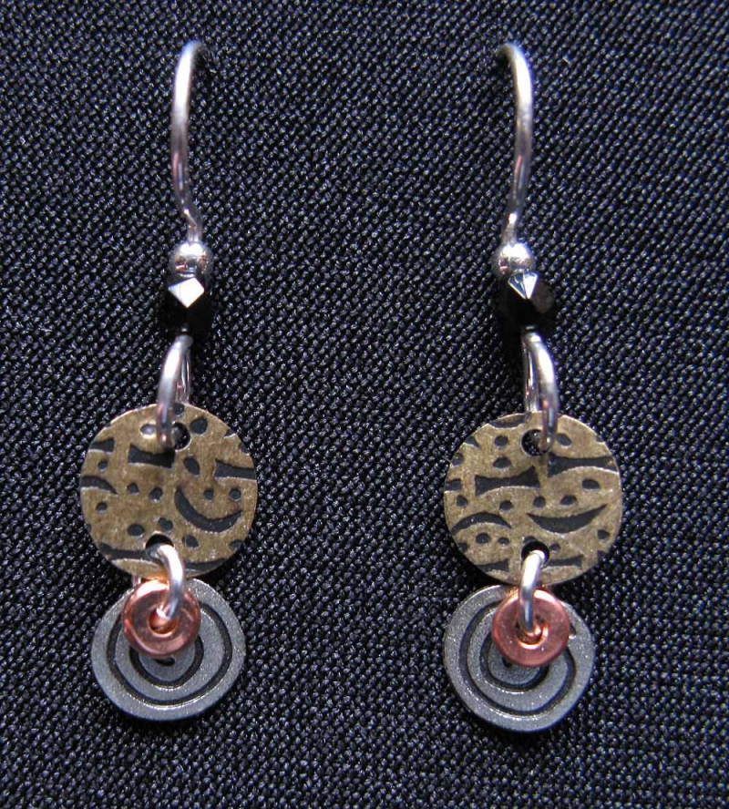 Brass Circle, Silver Swirl Earrings