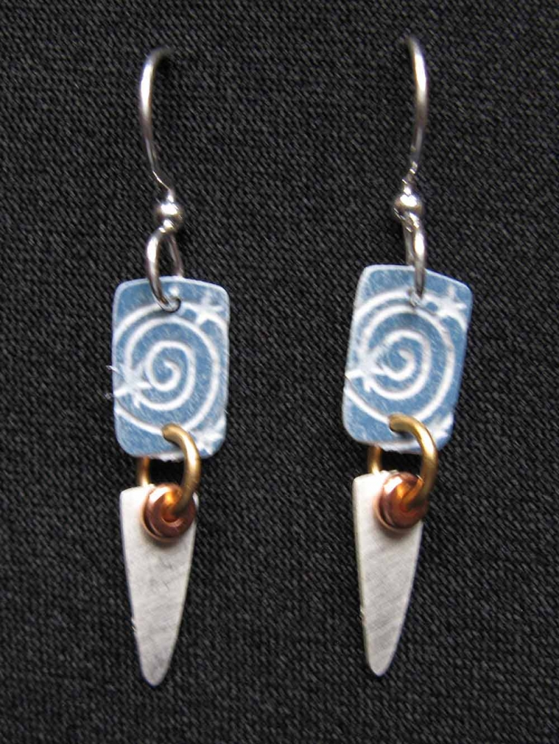 Blue Pattern Silver Drop Earrings