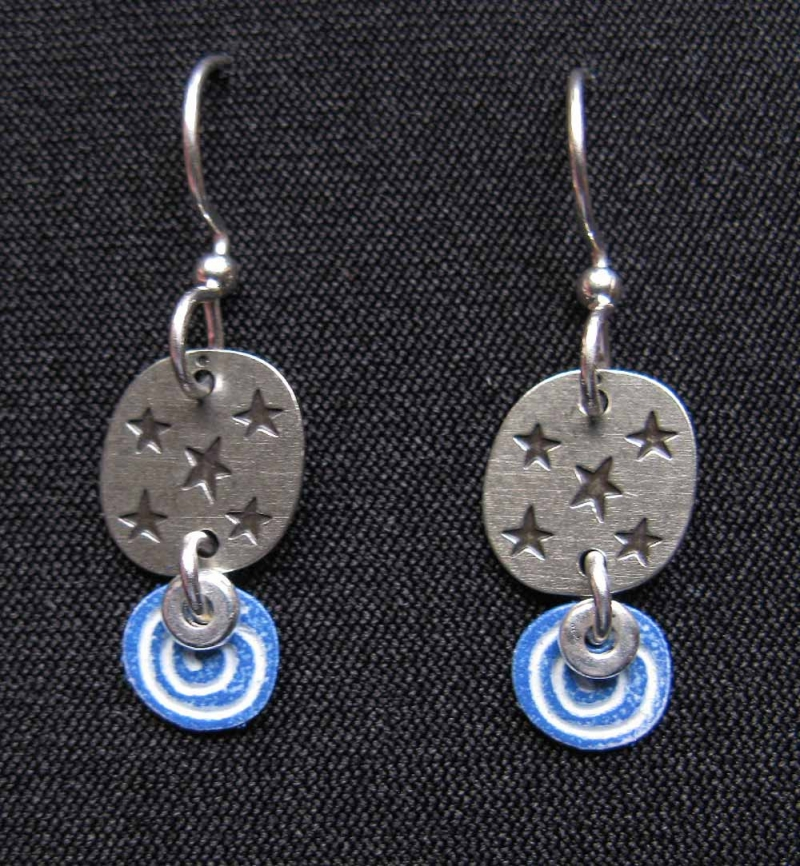 Starry Circle Blue Swirl Earrings