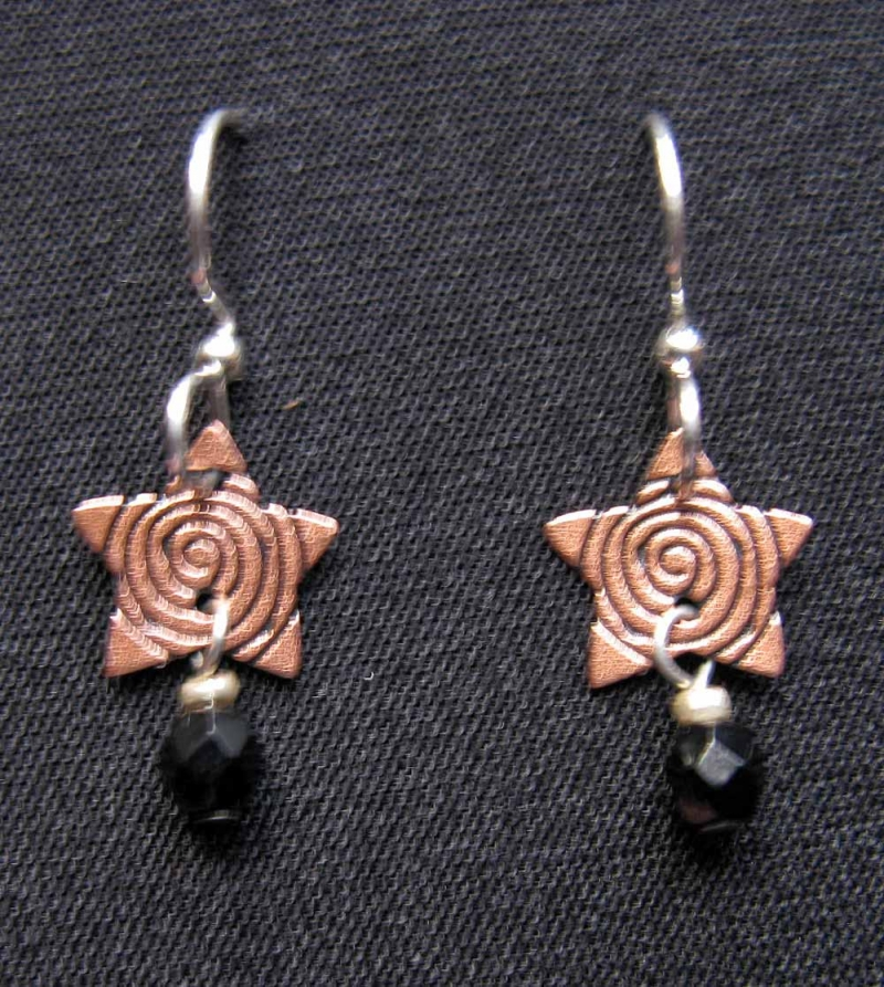 Copper Swirled Star Drop Earring