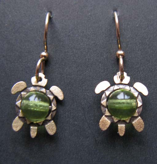Turtle with bead earrings