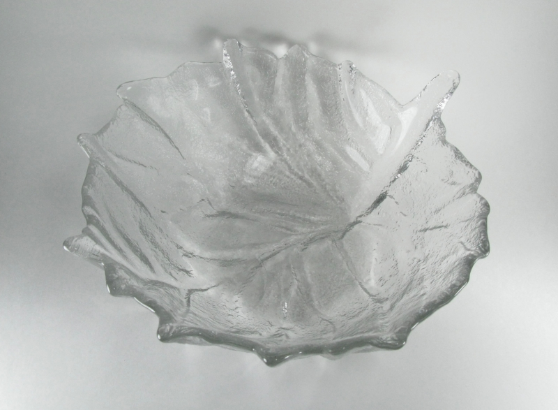 Large Glass Leaf Bowl in Crystal