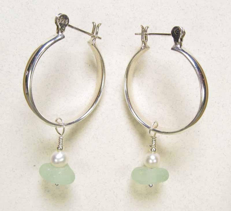 Large Hoops with Beach Glass