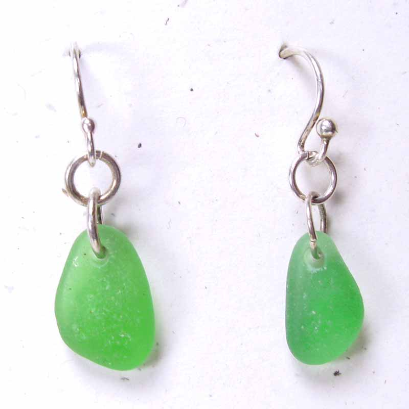Beach Glass Earrings in Silver