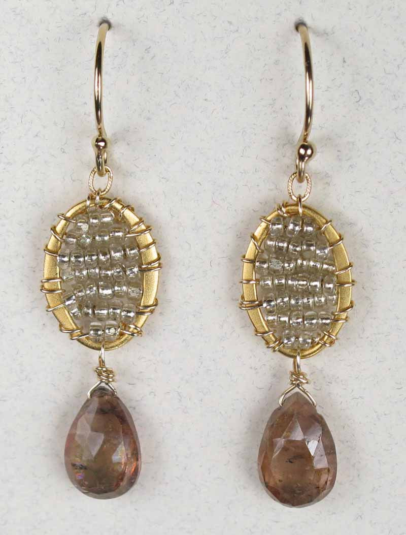 Woven Oval Earrings in Gold Quartz with Drop