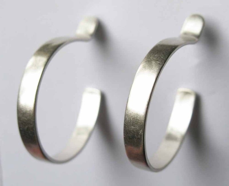Flat Hoop Earrings in Sterling or Bronze