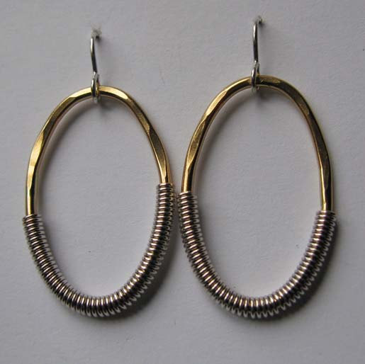 Hammered Wrapped Oval Earrings