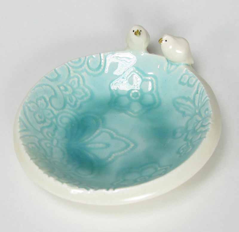 Bird Accessory Bowl in Sea Glass
