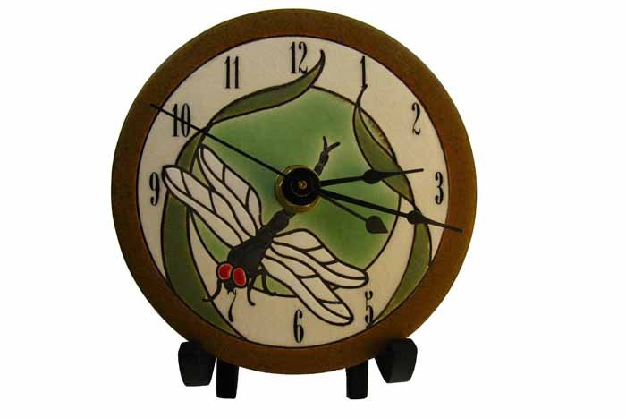 Clock - Dragonfly & Bulrushes