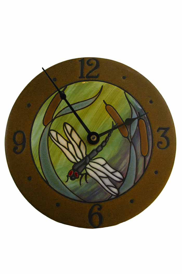 Dragonfly Bulrushes Round Wall Clock